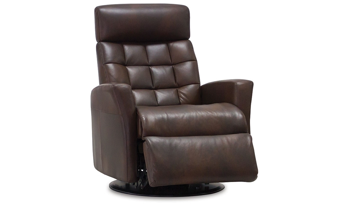 IMG Leonardo Power Reclining Glider Chair with Tufting in Coffee Brown Top-Grain Leather - Open Recliner