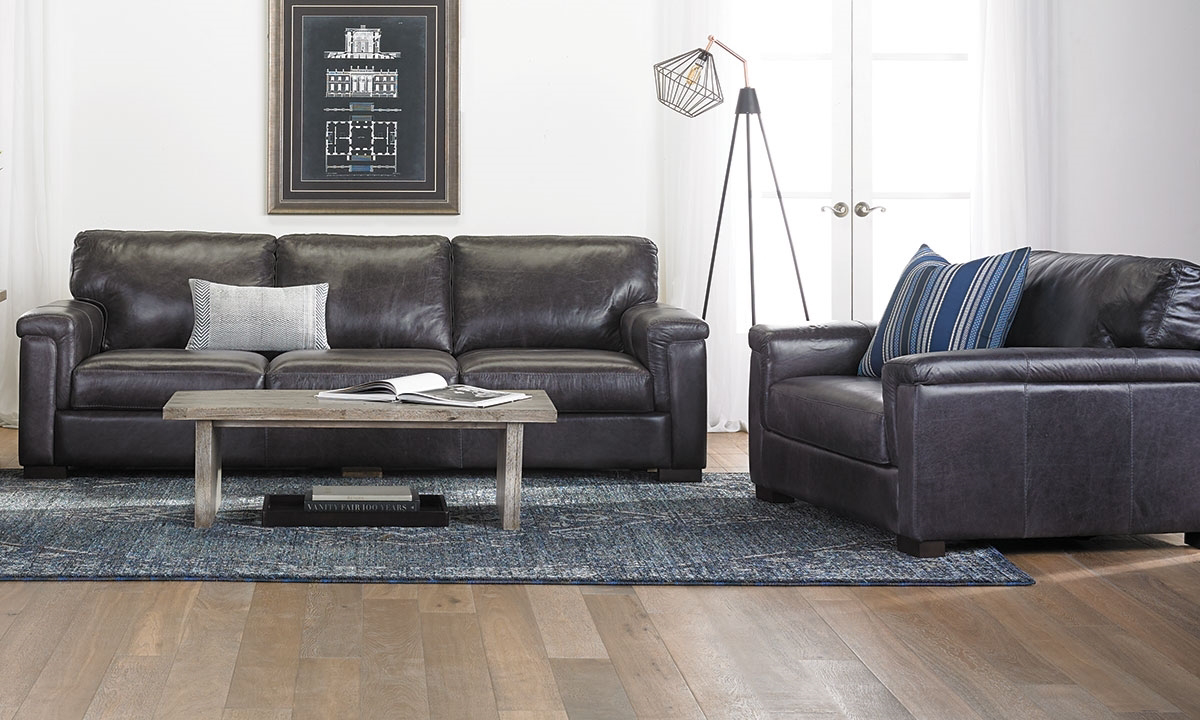 Contemporary 98-inch Italian leather sofa in dark gray