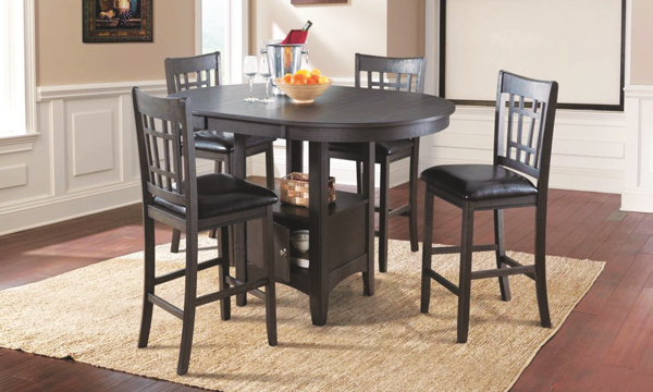 Max Dark Ash 5-Piece Counter Height Dining Set with Storage