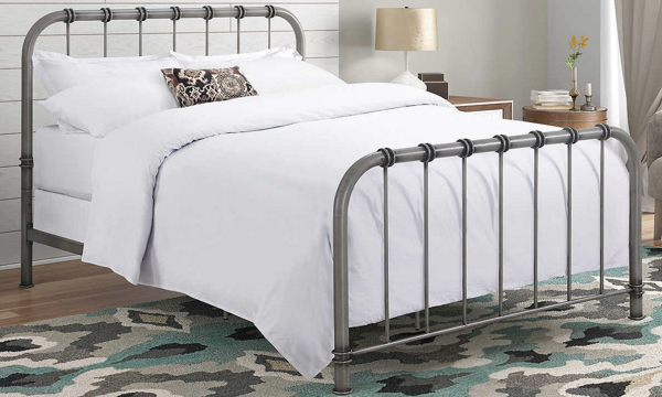 Hollis Antique Metal Adjustable Queen Bed