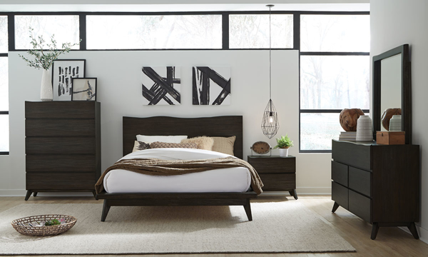 Modus Furniture Tahoe Live Edge Bedroom Set in Solid Wood with a Dark Gray Finish with Platform Bed, 6-Drawer Dresser and Nighstand