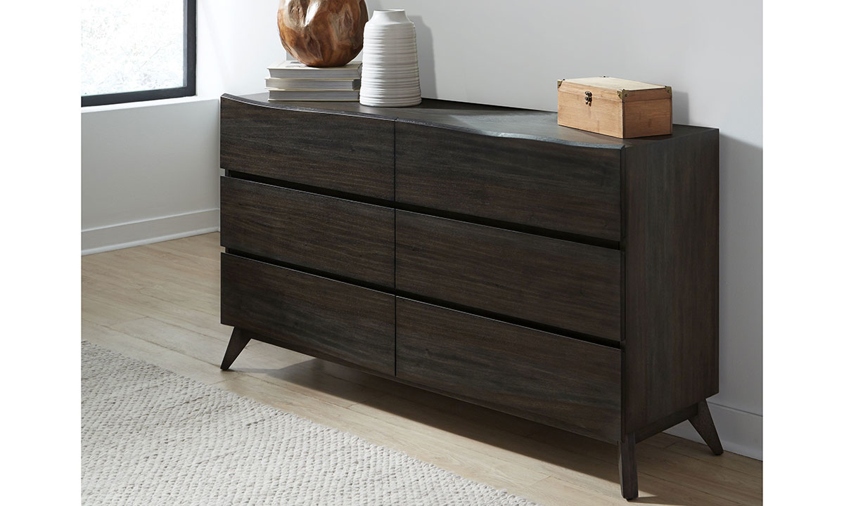 Modus Furniture Tahoe Live Edge 6-Drawer Dresser in Solid Wood with Dark Gray Finish