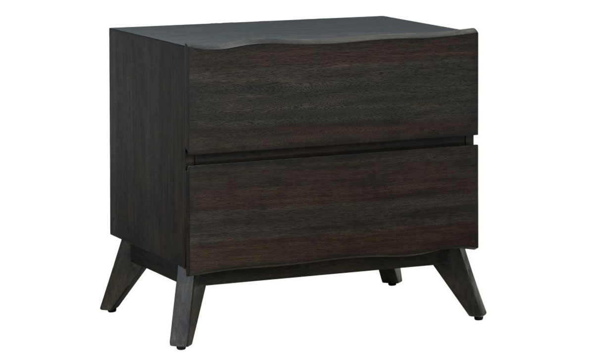 Modus Furniture Tahoe Live Edge Nightstand in Solid Wood with Dark Gray Finish