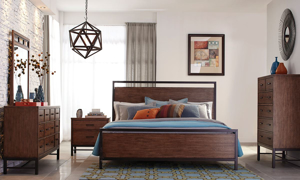 Klaussner Affinity Rustic Queen Bedroom Set with Panel Bed, 10-Drawer Dresser and Two Nightstands in Natural Finish