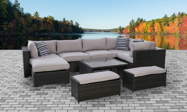 Kensington Complete Outdoor Patio Set with Sectional Sofa, 2 Ottomans & Glass Top Cocktail Table in Brown Wicker with Silver Sunbrella Fade-Resistant Fabric