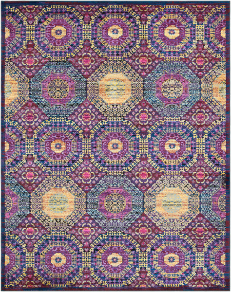 Fun and contemporary machine made area rug with bright pink, blue, purple and yellow circular patterns