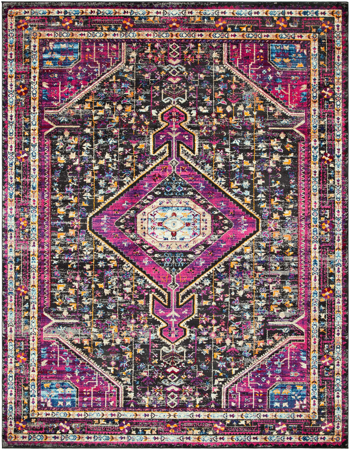 Unique and colorful Turkish area rug with strong hints of pink from the Alchemy collection.