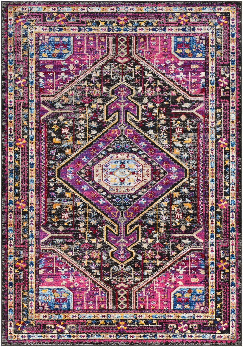 Unique and colorful Turkish 5' x 7' area rug with strong hints of pink from the Alchemy collection.