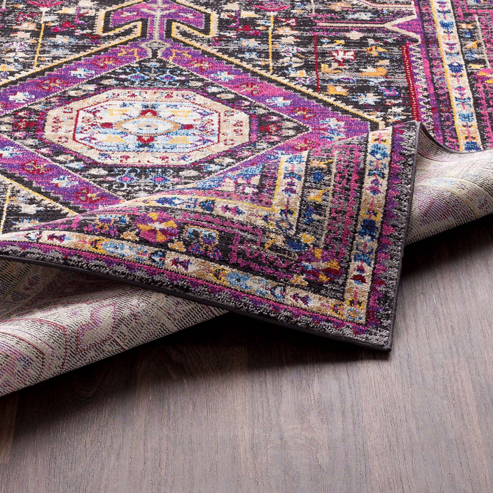 Unique and colorful Turkish 5' x 7' area rug with strong hints of pink from the Alchemy collection - Backing View