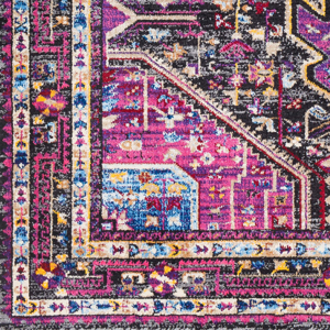 Unique and colorful Turkish 5' x 7' area rug with strong hints of pink from the Alchemy collection - Detail View