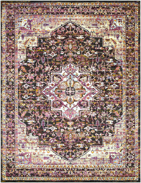 Traditional machine made Turkish area rug with hints of pink, violet, black and cream.