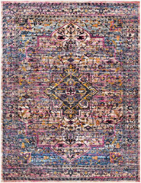 Trendy colorful area rug with pops of pink, blue, yellow and red