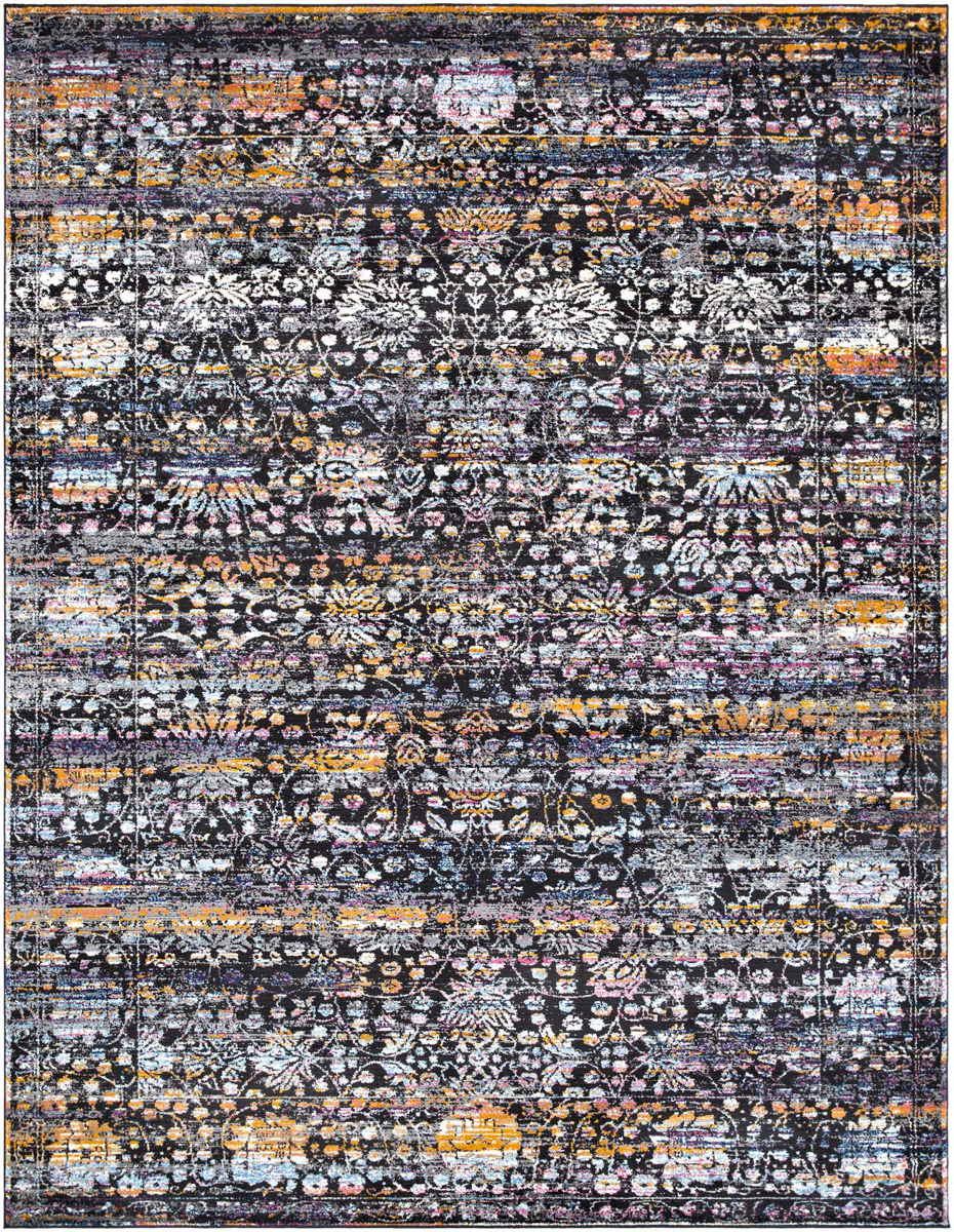 Contemporary area rug in black with pops of pink, blue, gray and cream.