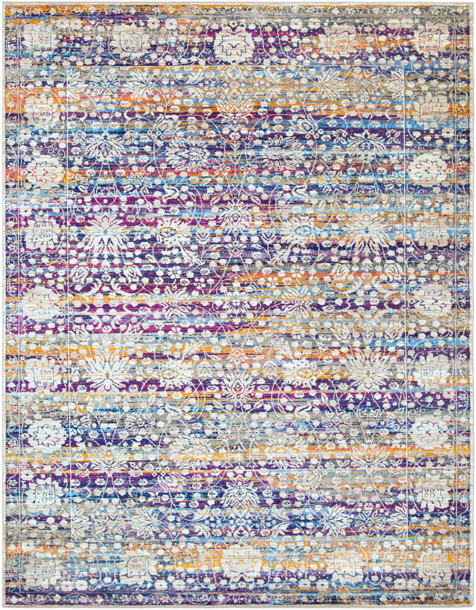 Pastel machine made Turkish rug with hints of blue, yellow, violet, pink and cream.