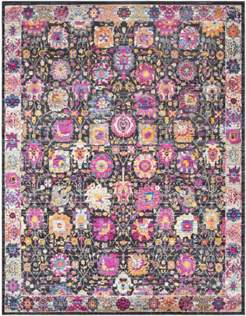 Funky and colorful modern area rug with bright pink, yellow, blue, violet and lime shapes on black background