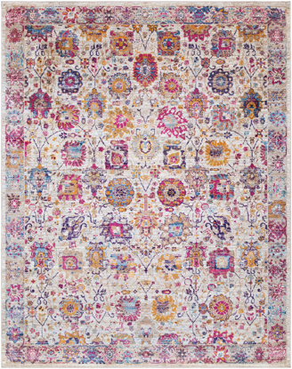 Bright and colorful floral pattern area rug with pops of pink, yellow, lime and blue on a cream background