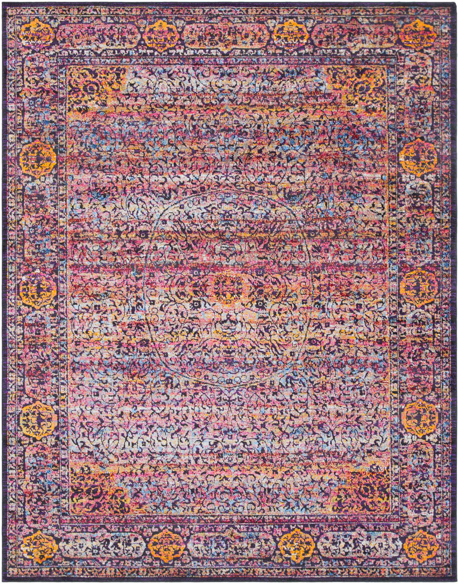 Bright and colorful patterned area rug with pink, violet, green, yellow and blue tones.