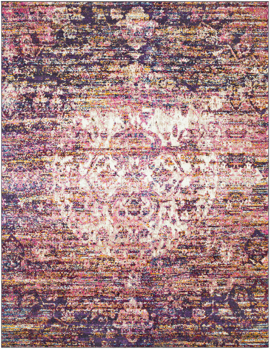 Bright pink and violet area rug with cream pattern
