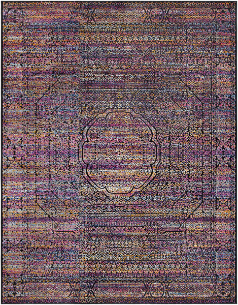 Bohemian style Turkish area rug in violet and blue with black pattern