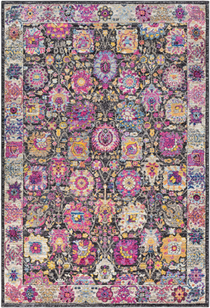 Funky and colorful modern 5' x 7' area rug with bright pink, yellow, blue, violet and lime shapes on black background