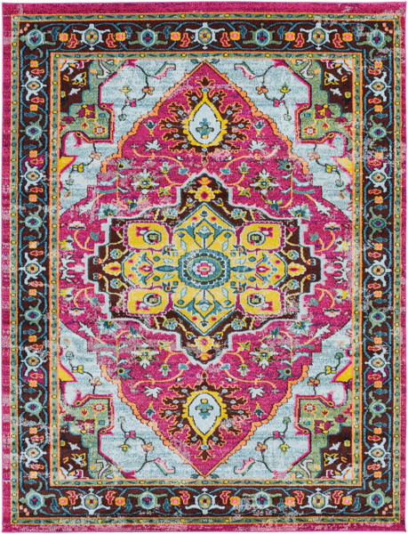 Bright Turkish area rug with pink, blue and yellow pattern from the Surya Anika collection.