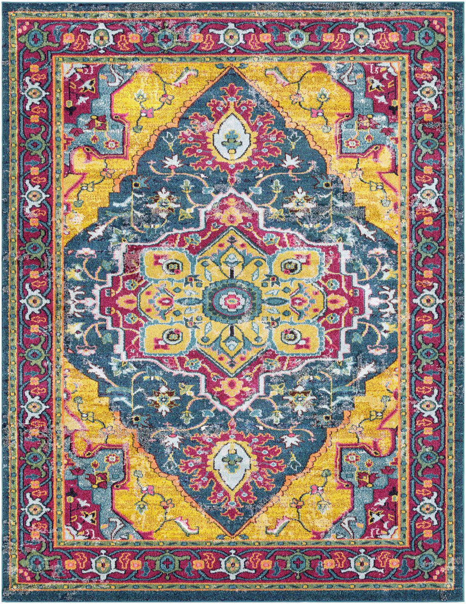 Bright and colorful Turkish area rug with yellow, pink and aqua pattern from the Surya Anika collection.