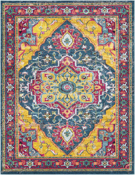 Bright and colorful 5x7 area rug with hints of yellow from the Surya Anika collection.
