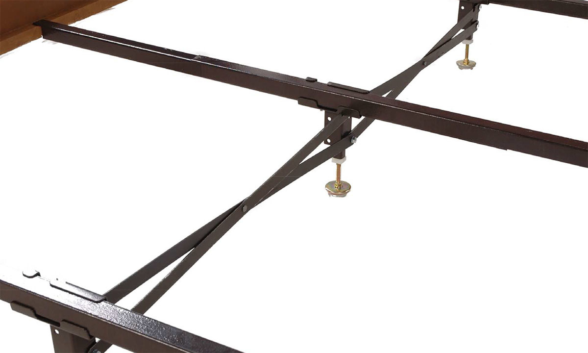 Recycled steel center support system with headboard, footboard and side rails