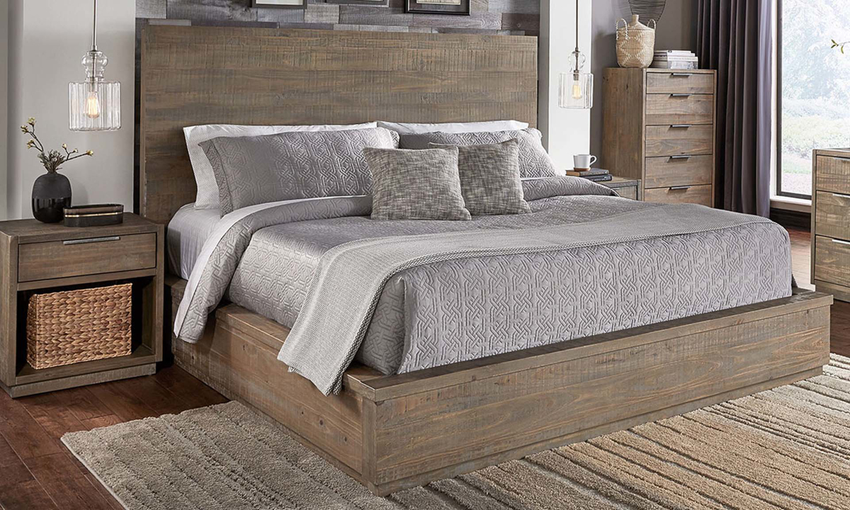 A-American Grays Harbor Solid Pine Queen Bed