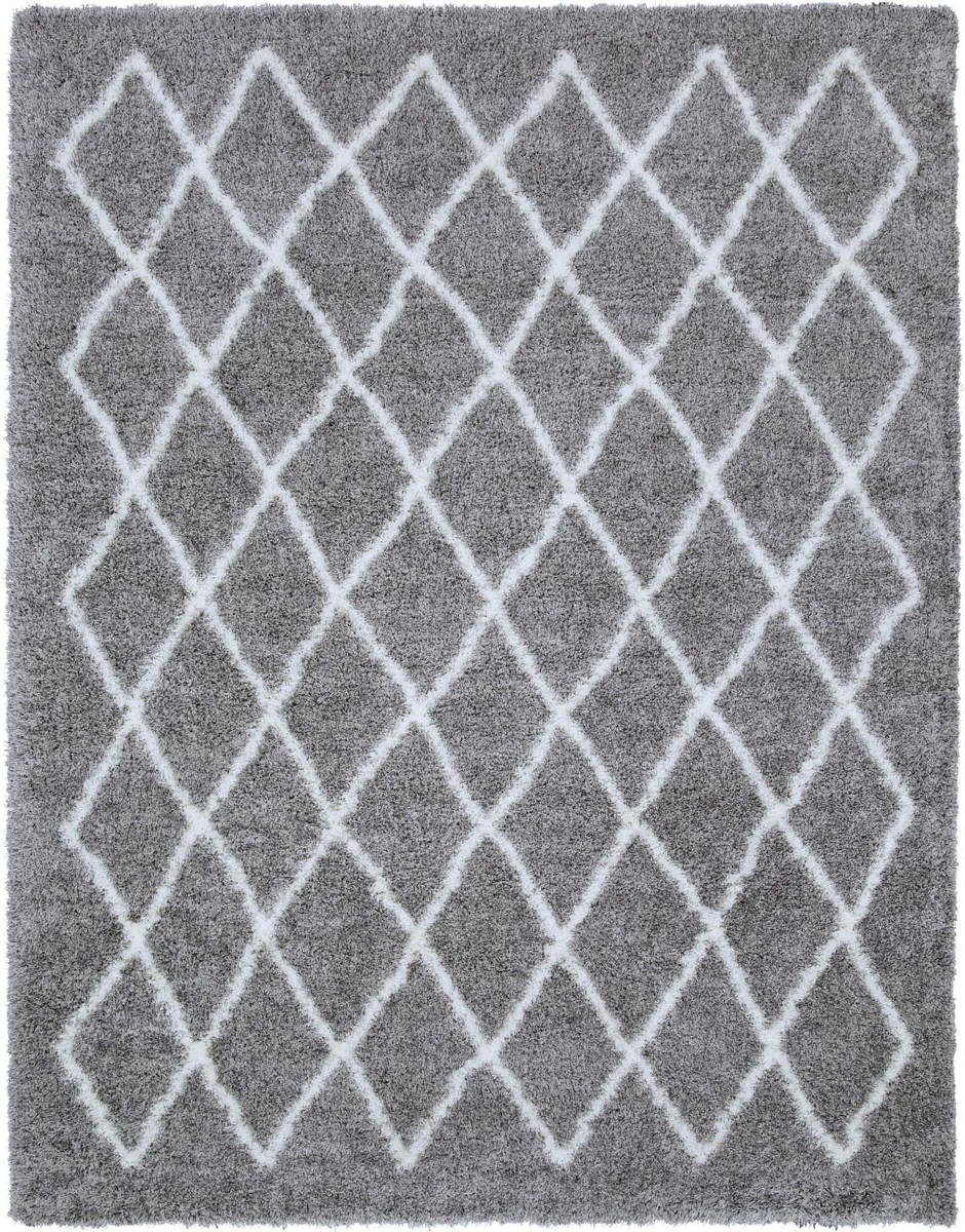 "Stylish gray and cream 5'3"" x 7'.3"" area rug with geometric diamonds from the Surya Cloudy Shag collection"