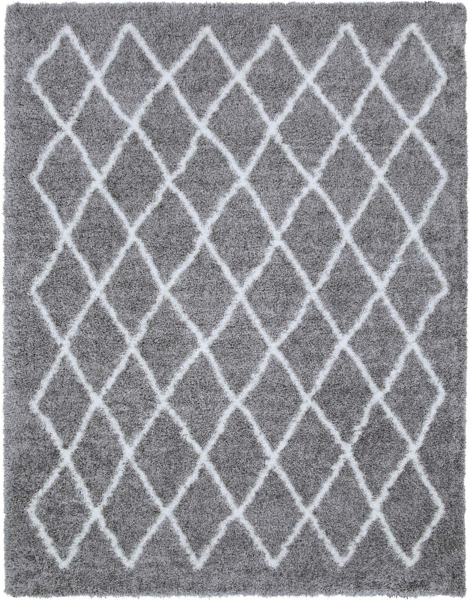 """Stylish gray and cream 5'3"""" x 7'.3"""" area rug with geometric diamonds from the Surya Cloudy Shag collection"""