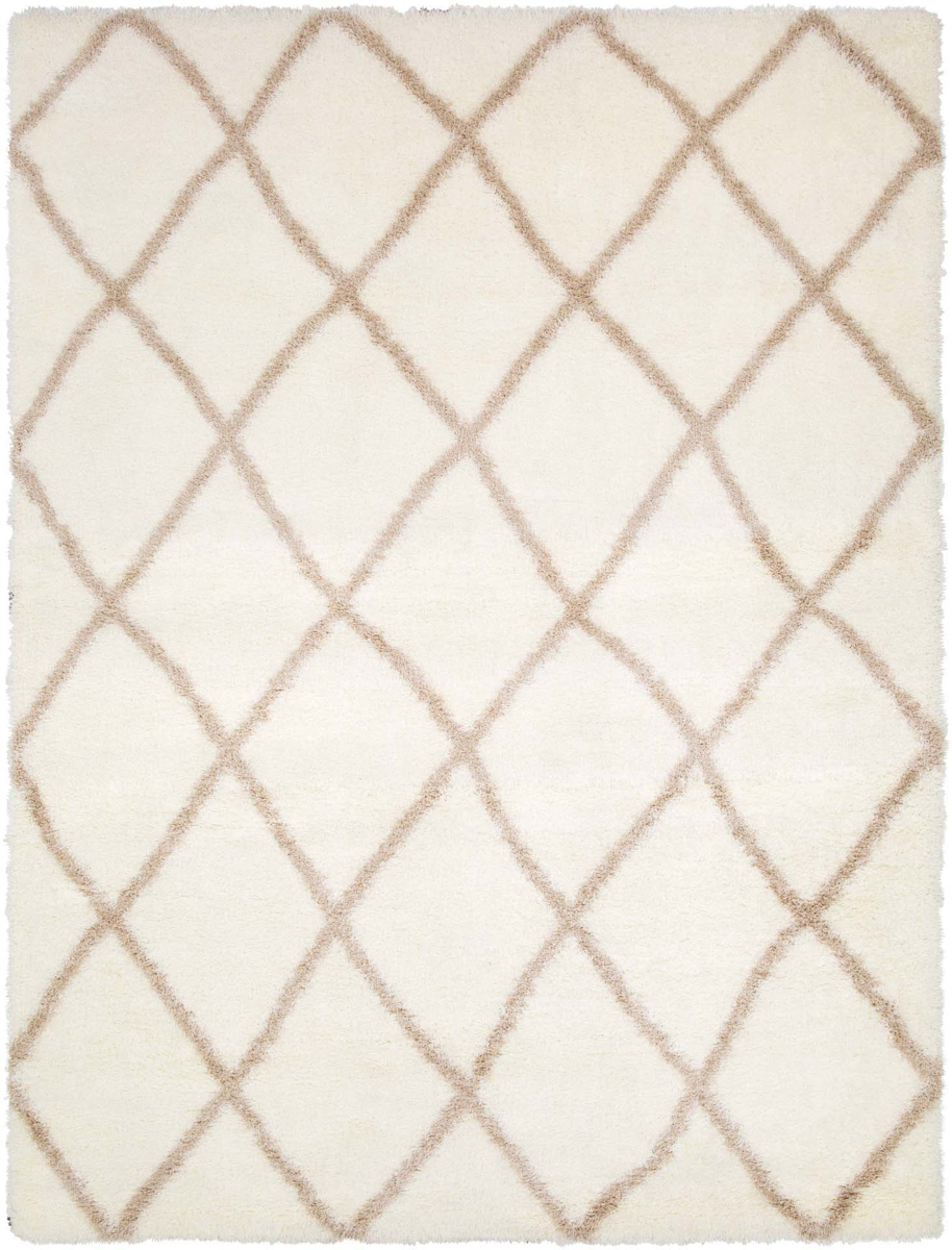Cream and khaki area rug with geometric diamonds from the Cloudy Shag collection