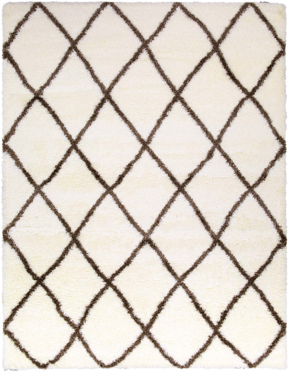 Cream and camel brown Turkish rug with geometric diamonds from the Cloudy Shag Collection