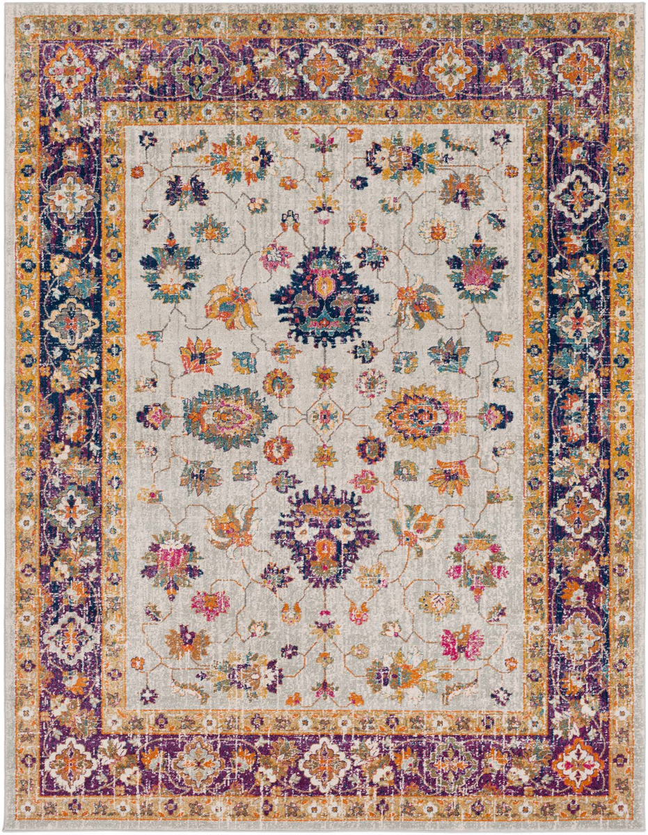 5.3' x 7.3' Turkish rug with hints of gray, yellow, orange and dark blue from the Harput Collection.
