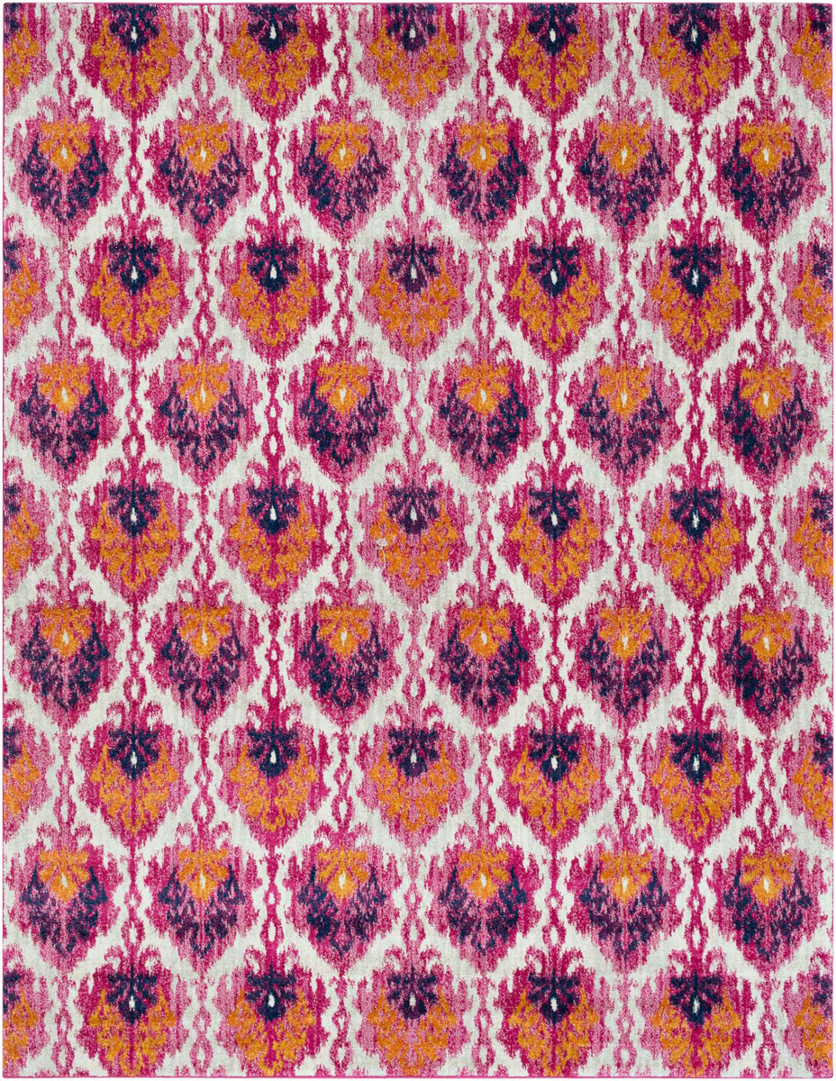 Contemporary patterned Turkish rug with hints of pink, blue, orange and yellow from the Surya Harput Collection.