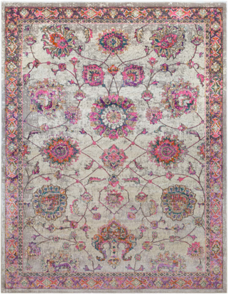 Traditional Turkish area rug in cream with pink, gray and teal floral design