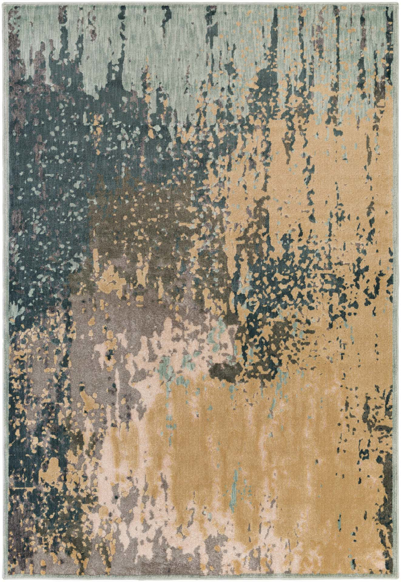 Contemporary area rug with splashes of green, gray, beige and aqua