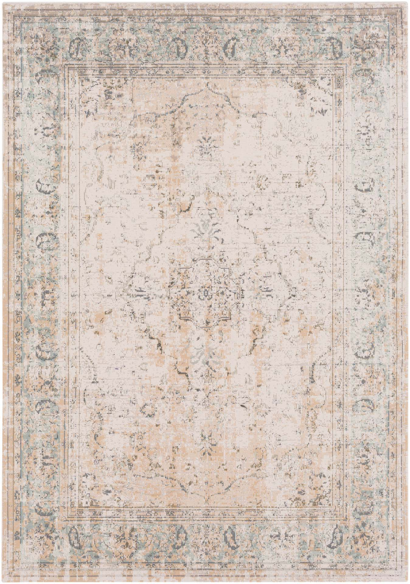 Traditional area rug with faded washed coloring in neutral tones.