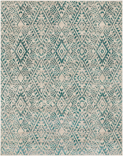 Egyptian area rug with tribal diamond pattern in cream and teal