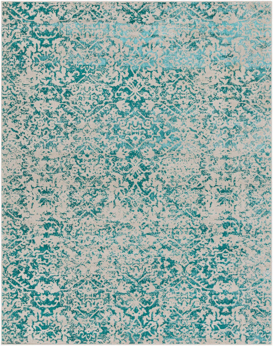 Patterned Egyptian area rug with stamped teal and gray floral detail