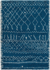 Belgian 8' x 10' area rug with diamond pattern in bright blue and white with fringe