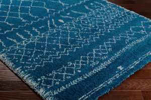 Belgian 8' x 10' area rug with diamond pattern in bright blue and white with fringe on wood floor