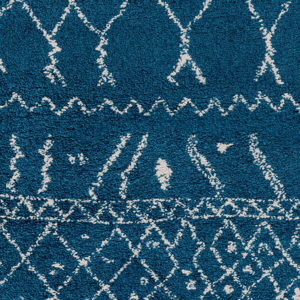 Belgian 8' x 10' area rug with diamond pattern in bright blue and white with fringe - Pattern Detail