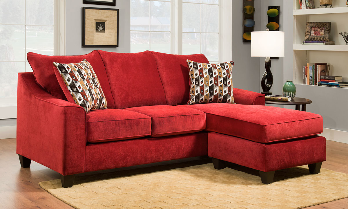 HANDMADE AMERICAN 90-INCH RED SOFA WITH REVERSIBLE CHAISE