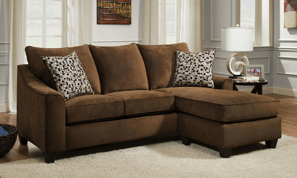 Handmade American 90-inch Brown Sofa with Reversible Chaise