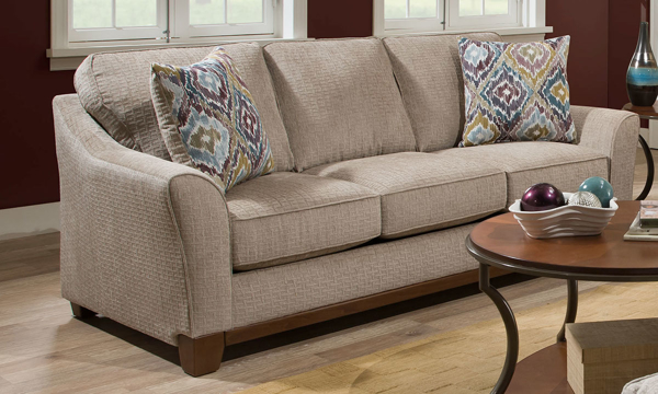 Handmade American Stone Flare Arm Sofa in Neutral Tone with Accent Pillows