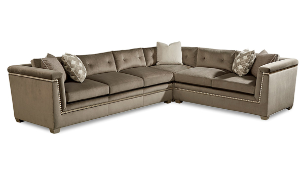 A.R.T. Morrissey Mani Contemporary Sectional in Dark Gray Velvet with silver wood trim.