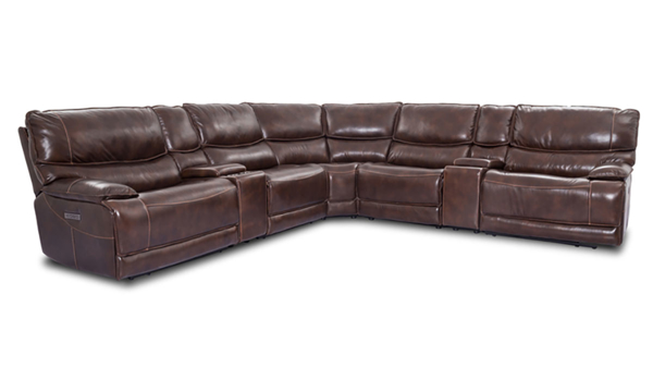 Leather Wall Hugger Reclining Sectional with Power Headrests and Triple Power Recliners in Warm Brown Finish