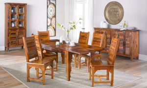 Bali Handmade 5-Piece Solid Teak Wood Blend Dining Set with 87-inch Extension Table and 4 Louvered Side Chairs - Dining Room Shot