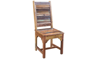 Bali Handmade Solid Teak Wood Blend Louvered Side Chair crafted in India